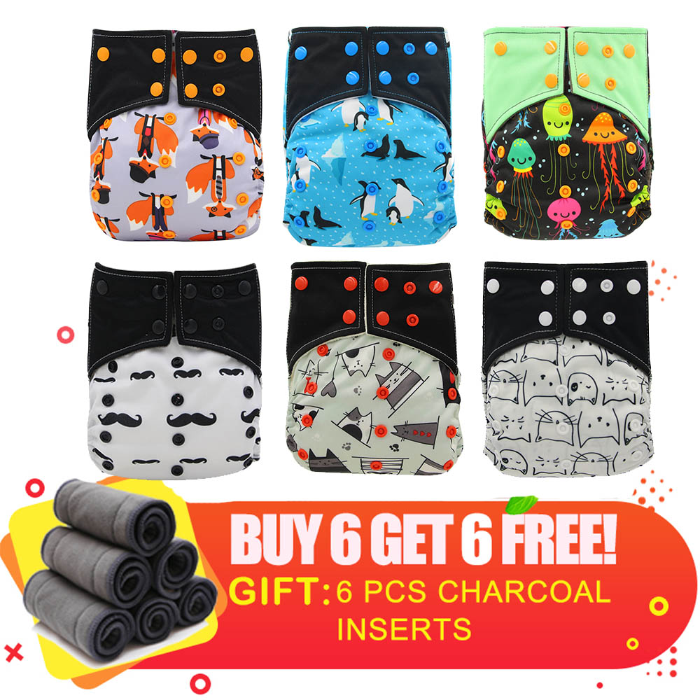 ALL IN TWO Bamboo Charcoal Cloth Diapers Double Gusset Washable And Reusable Baby Pocket Cloth Diaper Adjustable Newborn Nappy