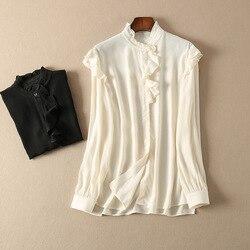 Женская рубашка из вискозы с оборками, рубашка с длинным рукавом, два цвета, женские топы