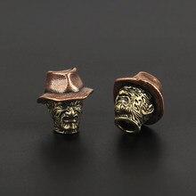 Chapeau Vintage en laiton couteau perles parapluie corde pendentif porte-clés accessoires cuivre paracorde perle 1 pièces
