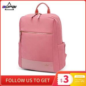 BOPAI новый рюкзак для ноутбука женский 14 дюймов Водонепроницаемый Розовый Модный женский дорожный рюкзак школьные рюкзаки сумки для девочек...