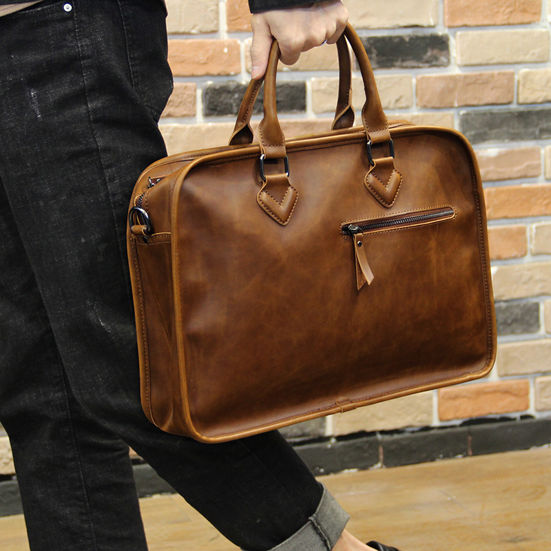 14 Inch PU Crazy Horse Leather Office Handbag Waterproof Men's Business Messenger Bag Vintage Casual Laptop Briefcase Male