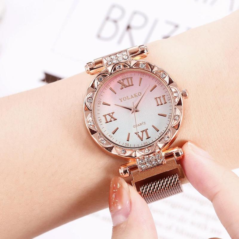 Luxury Starry Sky Women Watches Rose Gold Bracelet Magnetic Mesh Band Rhinestones Quartz Wristwatch Ladies Female Diamond Watch