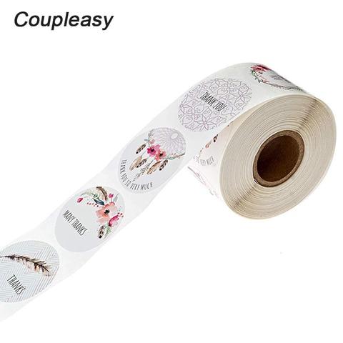 500 pces rolo 6 projetos obrigado voce adesivos selo adesivo para produtos artesanais 1 polegada