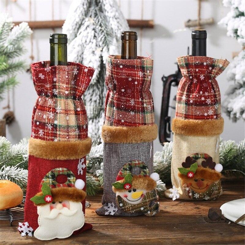 Christmas Decorations Plaid Linen Wine Bottle Set Champagne Bag  Tree Santa Xmas Ornaments