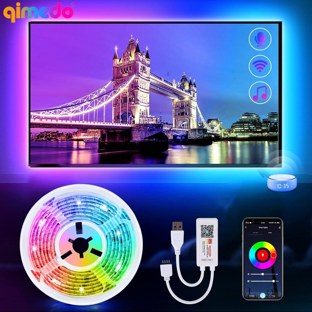 Luz de tira conduzida rgb 5050 smd dc5v fita flexível diodo usb led tira lâmpada bluetooth/wifi controle do telefone música tv backlight