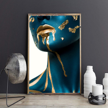 Modern Fashion Girl Canvas Art Blue Golden Colors Wall Pictures For Living Room Nordic Vogue Posters Print Cuadros Decor