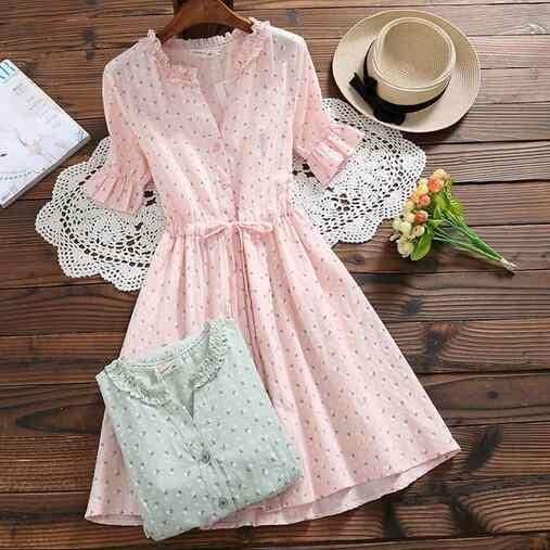 Mori Girl Ngọt Phụ Nữ Mùa Hè Váy Đầm Hoa Xù Lông Cổ In Hình Dây Nữ Vestidos Bông Hồng Xanh Dễ Thương DC641