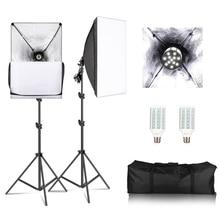 Фон для фотосъемки софтбокс свет комплект 1X ламповый патрон 2X E27 20 Вт светодиодный свет для студийной фотосъемки + 2X для студийной съемки + 2X осветительная стойка для вспышки + сумка для переноски