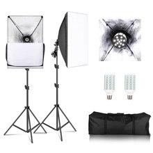 Photographie Softbox Kit de lumière 1X lampes douille 2X E27 20 W LED Photo Studio lumière + 2X Softbox + 2X support de lumière pour Flash + sac de transport