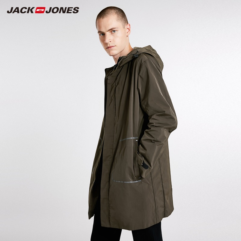 JackJones Autumn Men's Trend Style Trench Coat Hooded Long Jacket 218321514