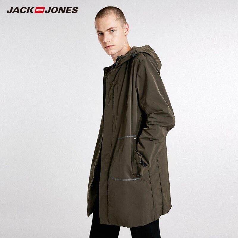 JackJones Men's Trend Style Trench Coat Hooded Long Jacket 218321514
