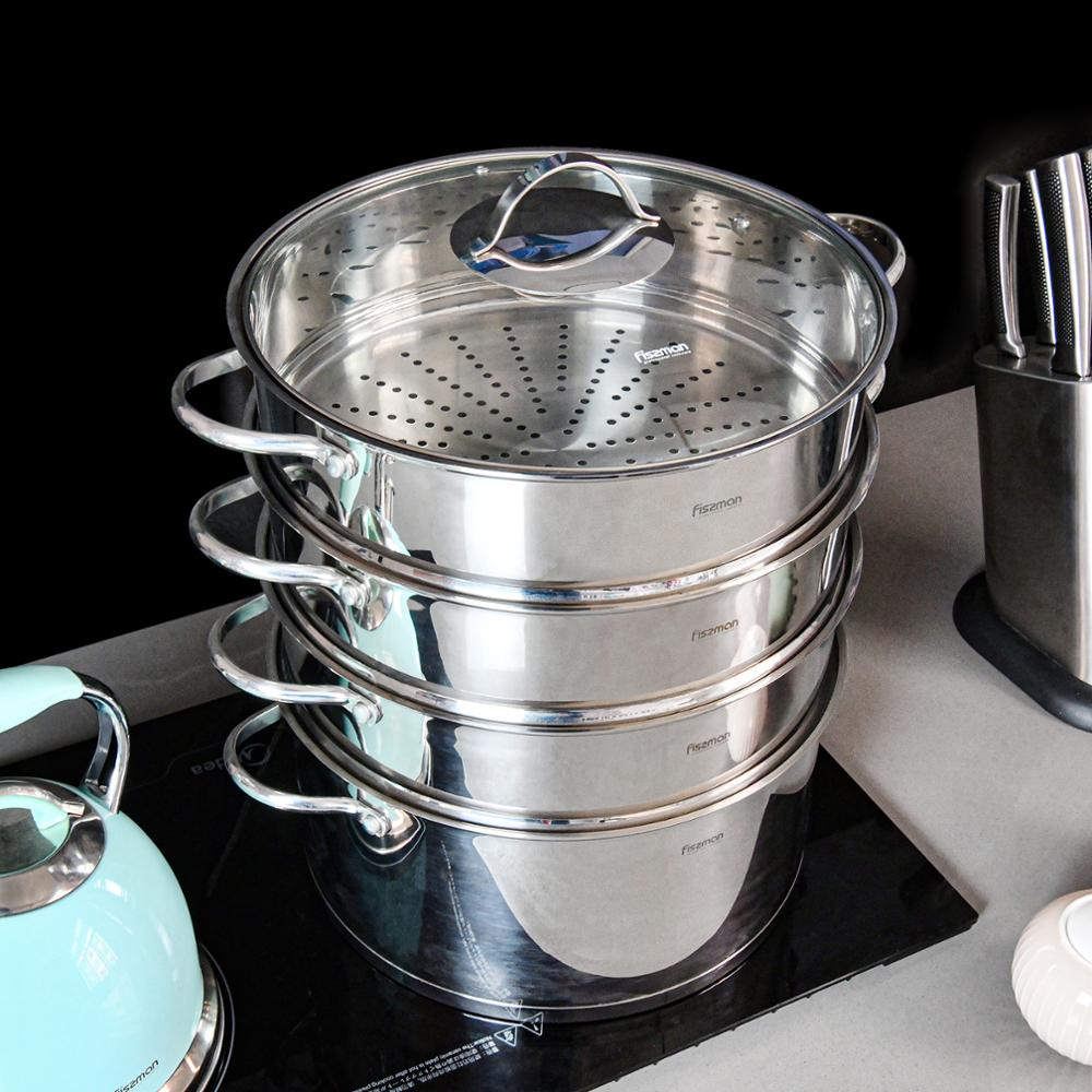 Image 3 - FISSMAN BARAKAT Series 304 Stainless Steel Mantou Stock Pot with 3 Steamer Inserts and Glass LidSoup & Stock Pots   -