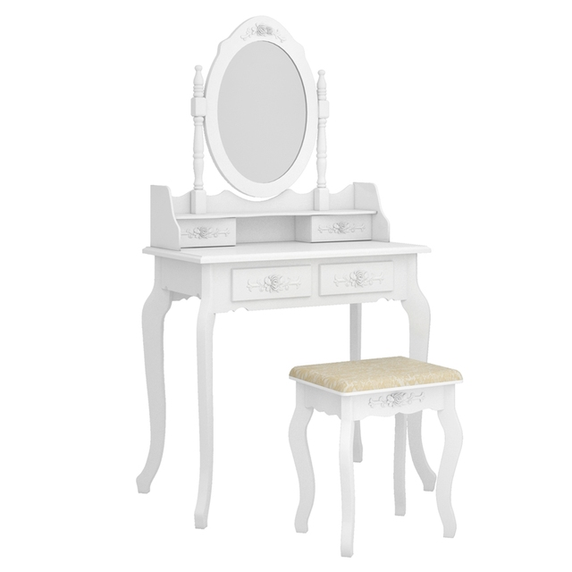 Modern Concise 4 Drawer Dressing Table, 360 Degree Rotation Pull-out Mirror, White Dressing Table with Stool 2