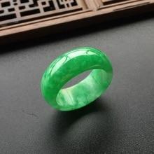 Кольцо с натуральным зеленым нефритом, ювелирное изделие, кольцо с драгоценным камнем, нефритовые камни для женщин и мужчин, ювелирные изделия, изумрудные кольца