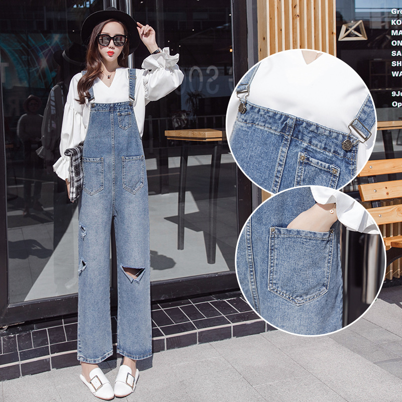 Photo Shoot 2019 Spring New Style Loose-Fit With Holes Suspender Pants Women's Korean-style BF Slimming Capri Pants Jeans