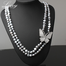 Natual Real Pearl Bead Necklace Long Pearl Necklace For Women,Butterfly Necklace Sweater Chain Jewelry Christermas Gift [daimi] grey color pearl necklace 160cm long sweater chain natural pearl long necklace 8 9mm rice pearl beach style 2017 new