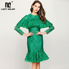 Lady Milan Womens Runway Dresses O Neck Long Sleeves Ruffles Lace Fashion Homecoming Mermaid Dresses