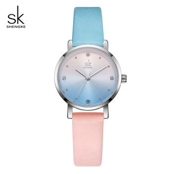 Shengke Ladies Quartz Watch Creative Color Leather Watches Women Relogio Feminino 2019 SK Women Wrist Watch Montre Femme Gift image