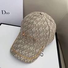 2021 nova moda feminina chapéu da marca de moda espumante diamante carta de amor boné de beisebol para feminino retro xadrez bonés meninas