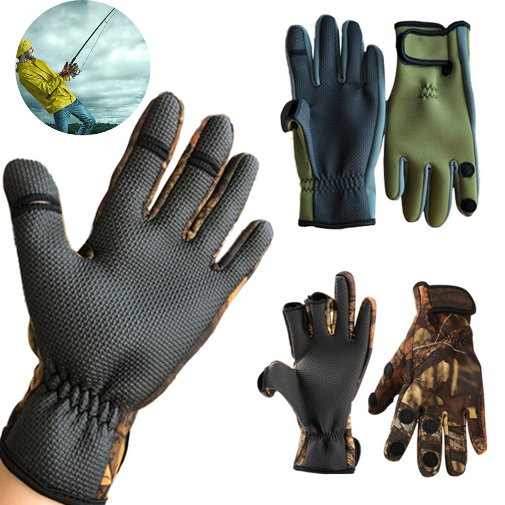 Outdoor Winter Fishing Gloves Waterproof Three or Two Fingers Cut Anti-slip Climbing Glove Hiking Camping Riding Gloves Men