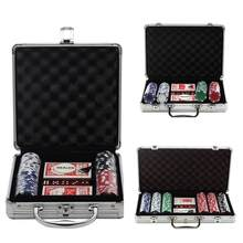 Texas Hold'em Casino Poker Chip Aluminum Case Set 100/200/300 PCS Baccarat Black Jack Poker Quality Clay Chip Coins With Box Hot