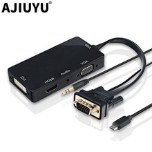 AJIUYU VGA to DVI VGA HDMI Adapter Cable Hub Dock Multi Ports VGA Display Splitter video Monitor Projector For Windows 10 8 7 XP