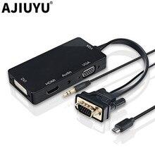 Ajiuyu vga to dvi vga hdmi 어댑터 케이블 허브 독 멀티 포트 vga 디스플레이 분배기 비디오 모니터 프로젝터 windows 10 8 7 xp
