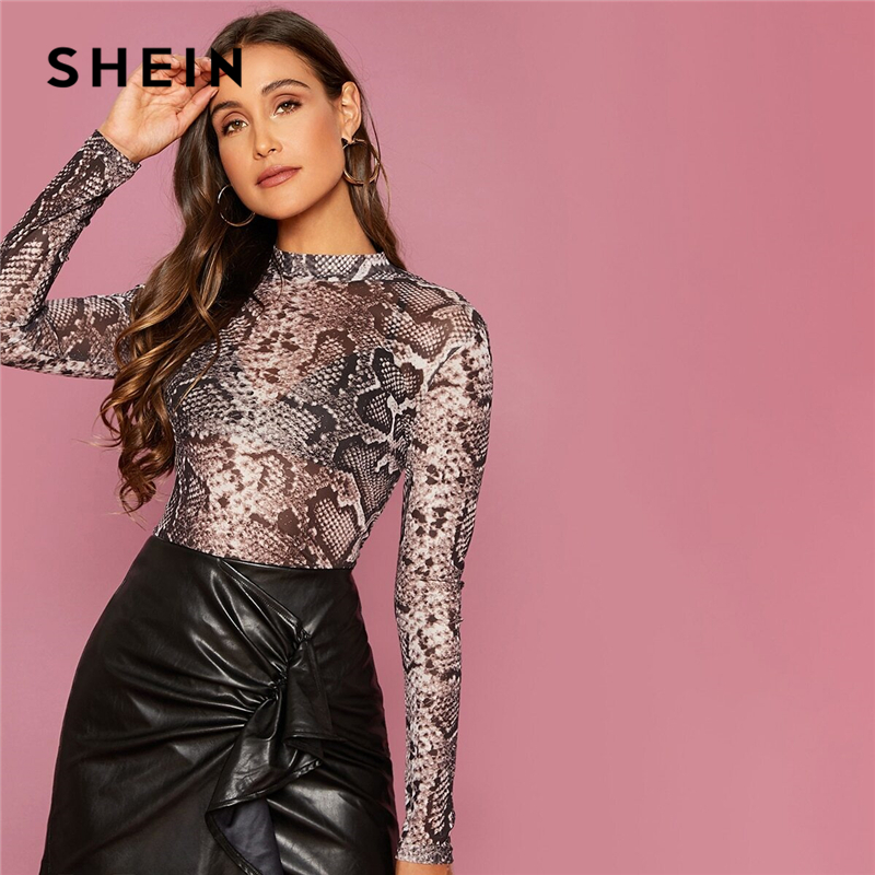 SHEIN Multicolor Snakeskin Print Mesh Sheer Slim T Shirt Top Women Spring Summer Long Sleeve Stand Collar Sexy Tops