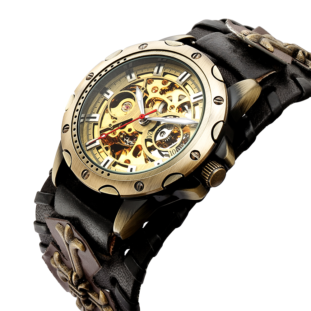 Automatic Mechanical Watch Male Clock Cusual Bronze Watch for Men Gift Unique Designs Leather Strap Relogio Masculino Wristwatch