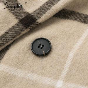 Image 5 - Simplee Thanh Lịch Kẻ Sọc Nữ Tweed Phối Nút Túi Thu Đông Nữ Phối Áo Khoác Cổ V Công Sở Nữ Dài Ấm Áp Overcoats