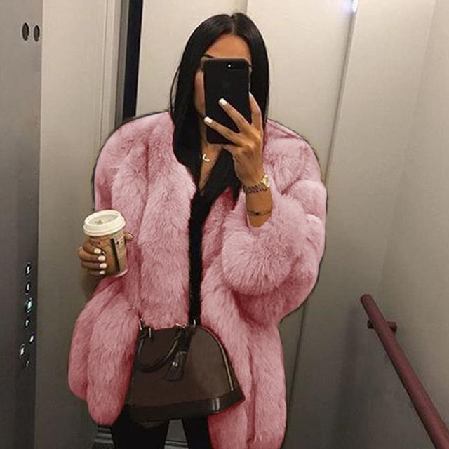 Women Fluffy Faux Fur Jacket 2020 Autumn Winter Warm Outerwear Coat Overcoat Hooded Luxury Long Coat Ladies Faux Fur Coat D30