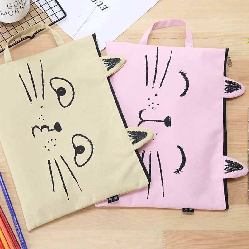 New 1 Pcs Kawaii Cute A4 Cat Canvas Bag Fabric File Folder Document Bag Notebook Storage Organizer Bag Office School Supplies