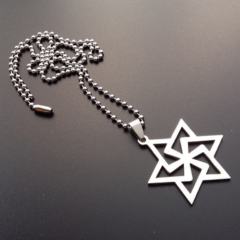 30 Stainless Steel Israel Emblem Geometric Round Overlapping Triangle Hexagon Six-pointed Star Magic Symbol Necklace jewelry