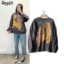 цена на 2019 hoodies sweatshirt women high street personality o-neck small lion print terry oversize sweatshirt pullovers women tops