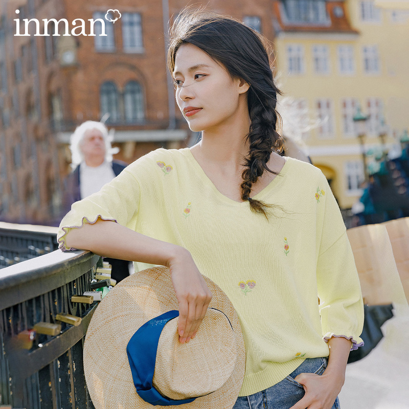 INMAN 2020 Spring New Arrival Literary Pure And Fresh V-line Collar Patchwork Color Lace Sleeve Loose Pullover