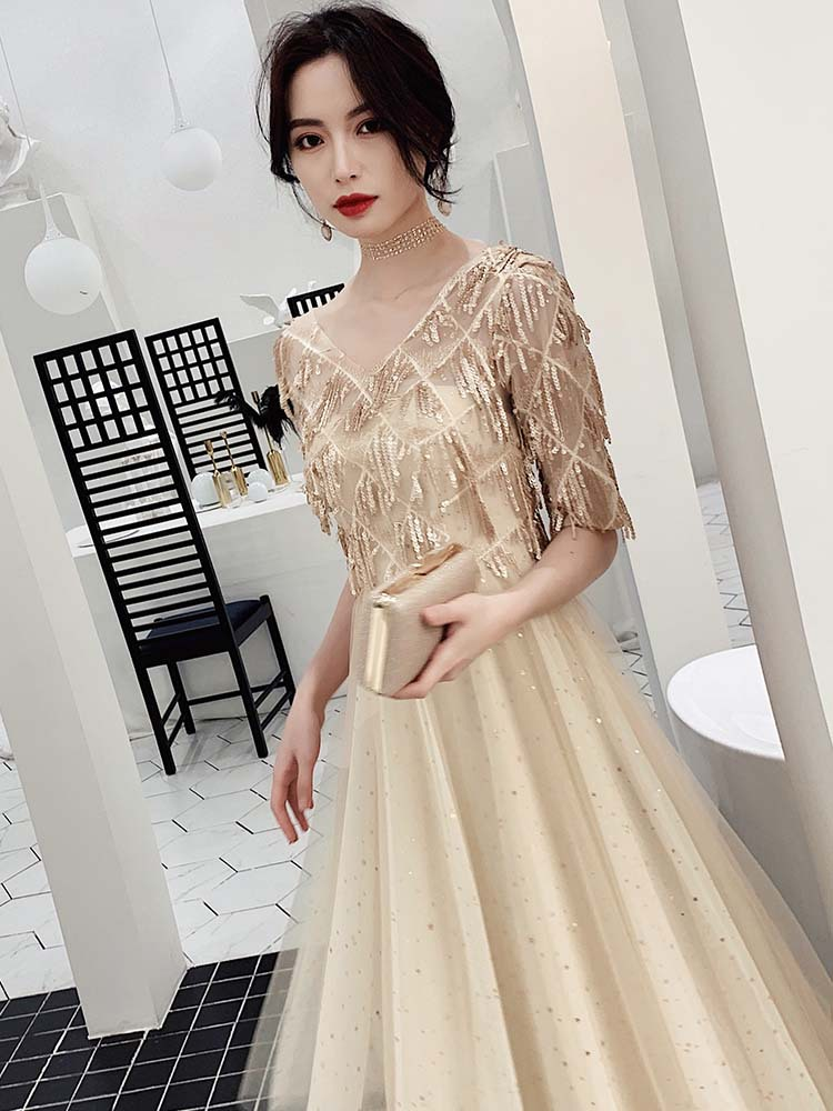 ES2740 New Tulle With Gold Sequine Formal Dresses Evening Gown V Neck Evening Gowns Dress Arabic Women Elegant Long Dress