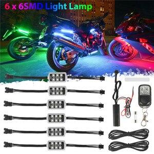 Image 1 - 6 RGB 36 LED Smart Brake Lights Motorcycle Car Atmosphere Light with Wireless Remote Control Moto Decorative Strip Lamp Kit