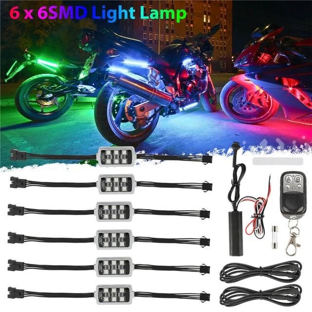 6 RGB 36 LED Smart Brake Lights Motorcycle Car Atmosphere Light with Wireless Remote Control Moto Decorative Strip Lamp Kit