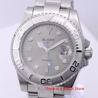 Bliger 40mm relógio mecânico automático masculino marca de luxo relógio de cristal safira luminosa à prova dwristwatch água calendário relógio de pulso