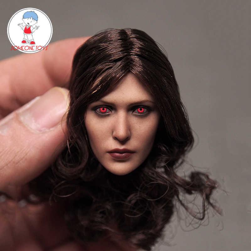 "1//6th Elizabeth Olsen Scarlet Girl Brown Curl Hair Female Head Sculpt 12/"" Figure"