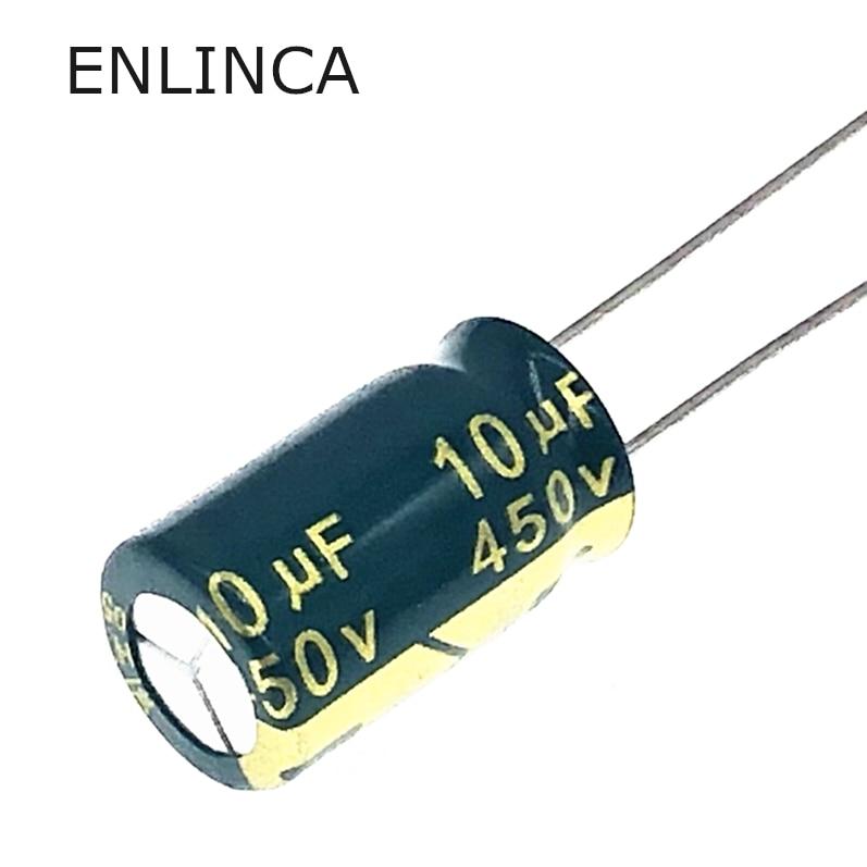 12pcs/lot 450v 10uf 450v10UF Aluminum Electrolytic Capacitor Size 10*17 20%