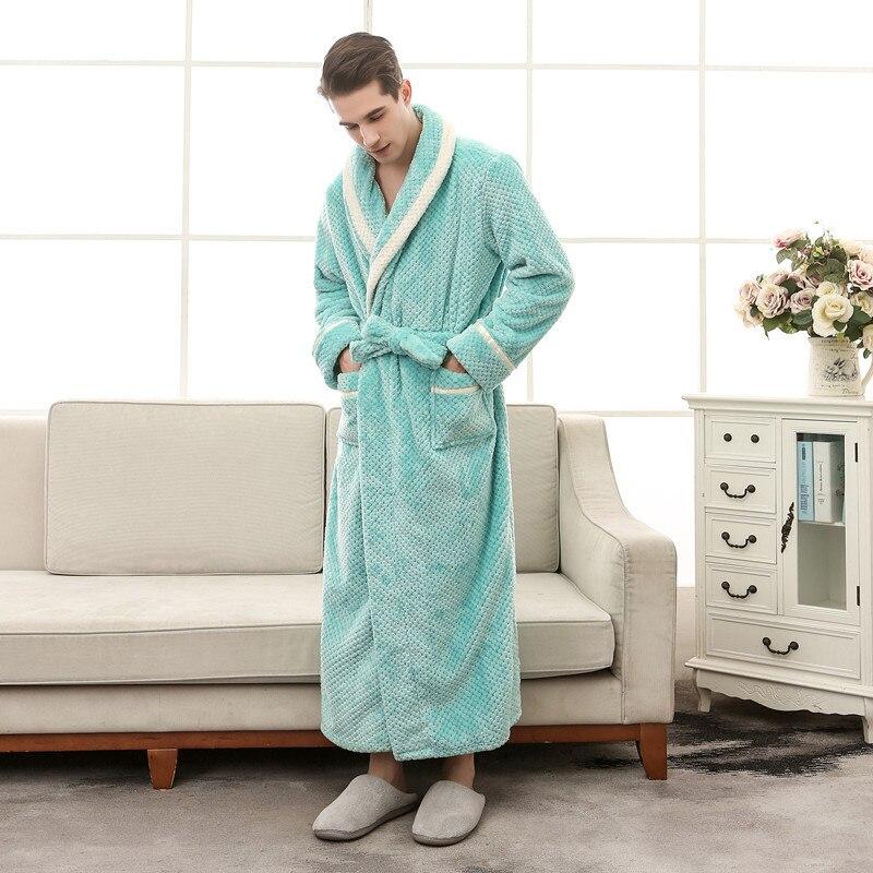 Men Robe Kimono Bathrobe Warm Long Nightgown Casual Sleepwear Sleeve Home Dressing Gown Nightwear