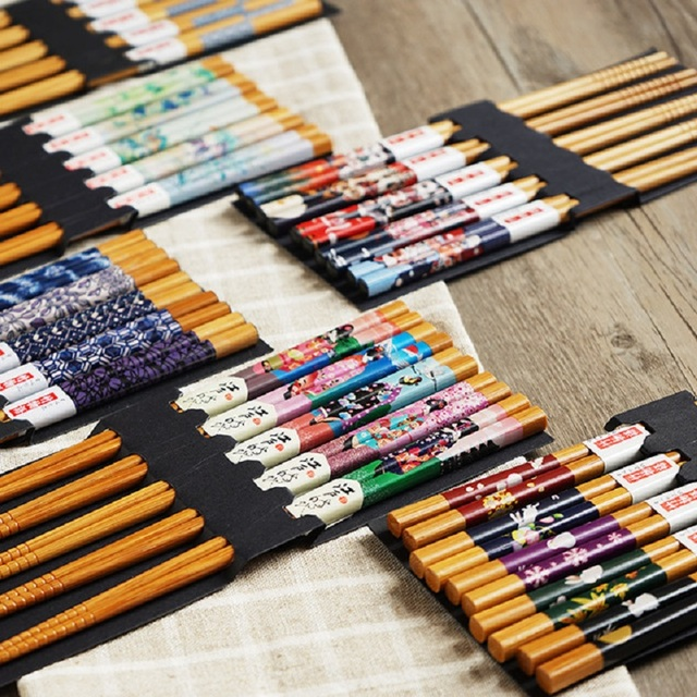 Фото 5 пар многоразовых бамбуковых японских палочки для суши из натурального цена