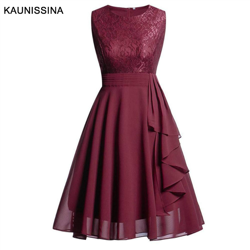 KAUNISSINA Women Vintage   Cocktail     Dresses   Round Neck Sleeveless Lace Chiffon Back Zipper Homecoming Robe Party   Dress