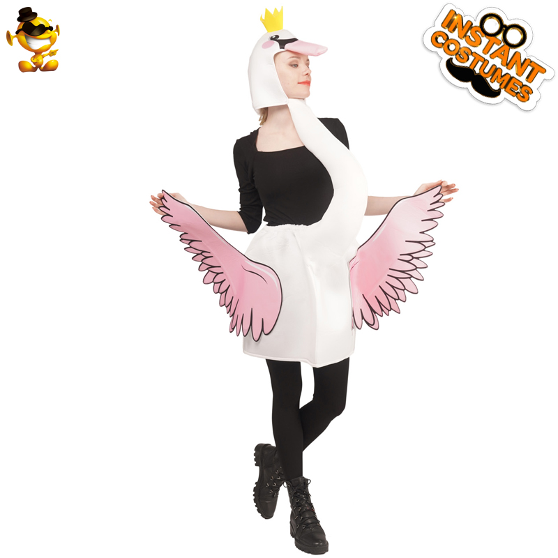 QLQ – Costumes de cygne blanc pour adultes, combinaison avec des animaux, tenue de fête, costume de jeu de rôle, pour hommes et femmes