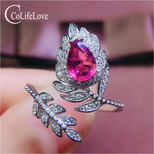 CoLife Jewlery 925 Silver Pink Topaz Ring for Party 4*6mm Natural Topaz Silver Ring Fashion Silver Gemstone Ring