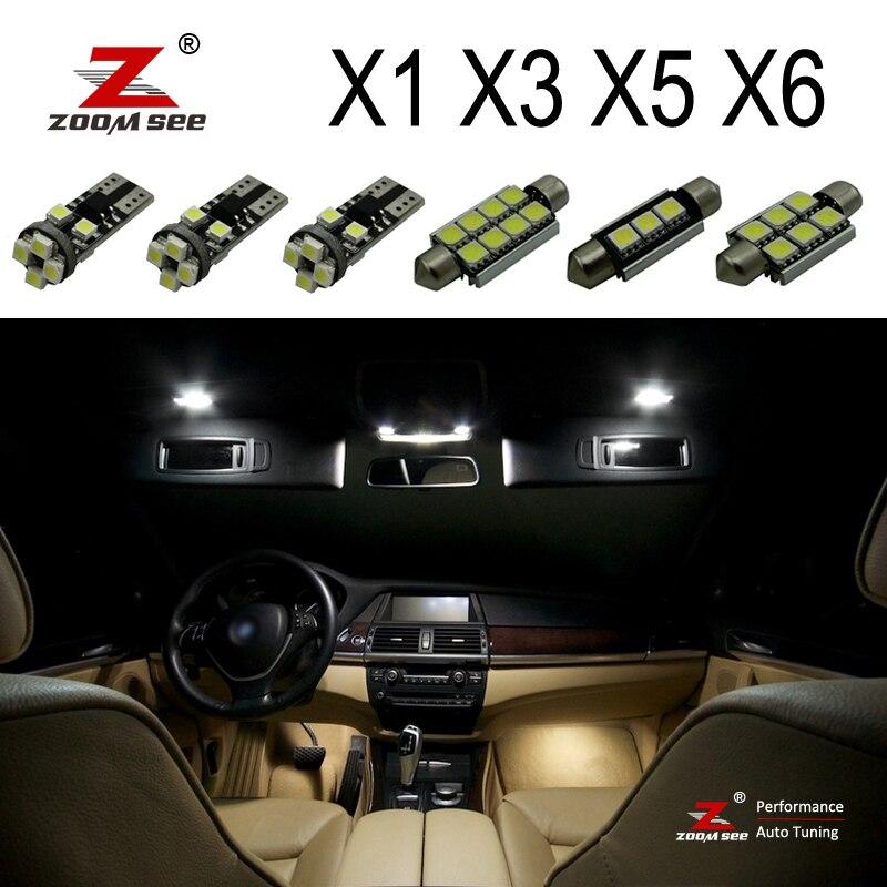 100% с идеальными белыми ошибок Canbus светодиодная лампочка Интерьер Карта Купол светильник комплект для BMW X1 E84 X3 E83 F25 X5 E53 E70 X6 E71 (00-15)