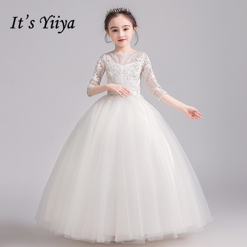 Flower Girl Dresses It's Yiiya B043 White Appliques Lace O-Neck Girls Princess Dress For Weddings O-neck Tulle Party Ball Gowns