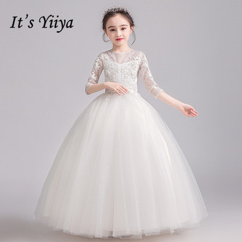 цена на Flower Girl Dresses It's Yiiya B043 White Appliques Lace O-Neck Girls Princess Dress For Weddings O-neck Tulle Party Ball Gowns