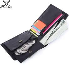 フランカー 100% 本革男性小さな財布カジュアル財布ブランド二つ折りコインポケットカードホルダーポートフォリオ